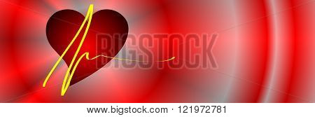 red heart on a red abstract background appropriate as banner or business card