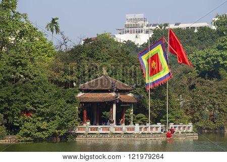 HANOI, VIETNAM - JANUARY 10, 2016: Jade Temple closeup. Sword Lake. The historic landmark of the city of Hanoi