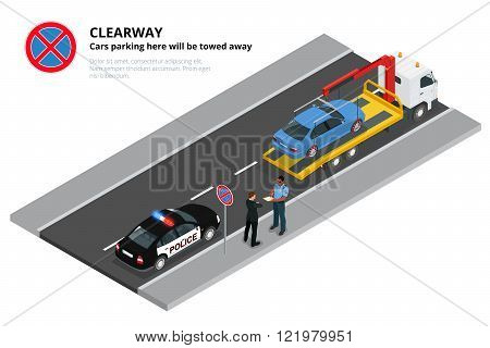 Isometric police fines car design flat isolated. 3D car on Tow truck, police officer traffic, police