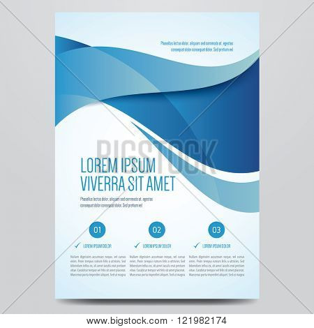 Brochure, poster, annual report, magazine cover, flyer vector template. Modern blue corporate design.
