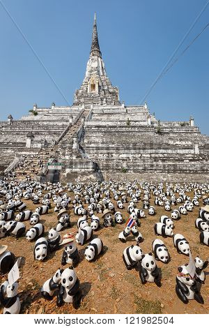 Bangkok Thailand - March 8 2016: 1600 paper Mache Pandas campaign showcase at Bangkok by WWF to promote environmental preservation.