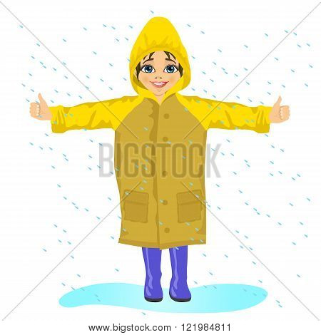 little girl in yellow raincoat in the rain