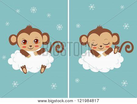 Cute Baby Monkey On A Cloud Sleeping And With Big Eyes. Cartoon Vector Card. Funky Monkey. Monkey Meme. Monkey As Toy.