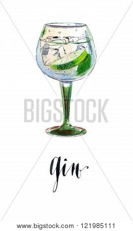 Gin with ice and lime slice, watercolor, hand drawn - Illustration
