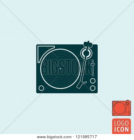 Vinyl record player icon. Vinyl record player symbol. Retro record turntable icon isolated. Vector illustration