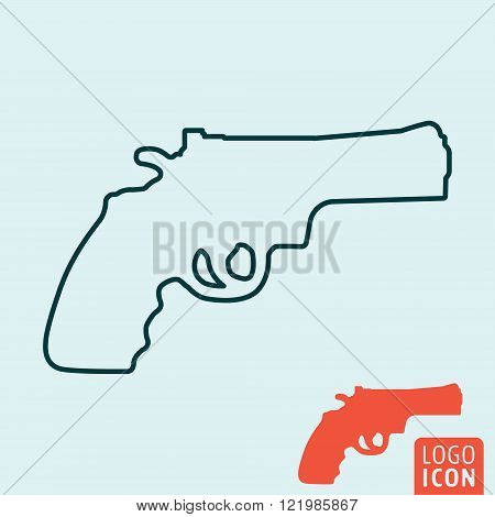 Revolver icon. Revolver symbol. Revolver line icon isolated. Vector illustration