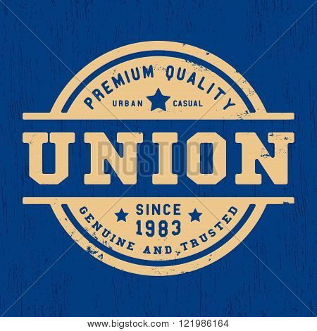 T-shirt print design. Union vintage stamp. Printing and badge applique label t-shirts jeans casual wear. Vector illustration.