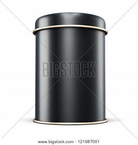 Black Metal Jar For Tea Isolated On White Background