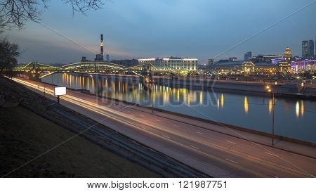Moscow Russia - March 11 2016: View of Kievskiy railway station at night in Moscow Russia. Station was opened 1918 in the Byzantine Revival style pronounced in the 51 m high clocktower.