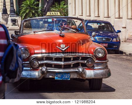Havana, Cuba - April 1, 2012: Cadillac Series 62 Taxi Cabriolet