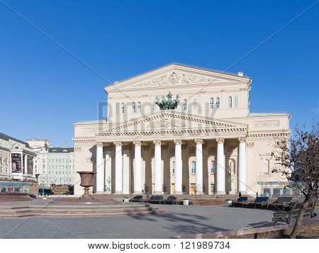 Moscow - March 13 2016: The State Academic Bolshoi Theatre of Russia - Moscow tourist attraction and an object and sky blue March 13 2016 Moscow Russia
