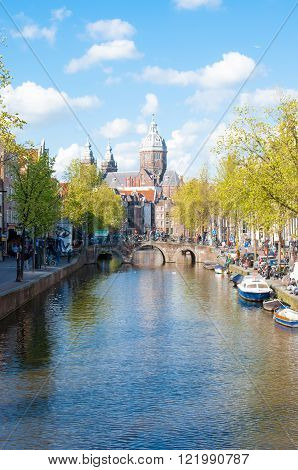 Amsterdam-April 30: Panorama of Red light district the dome of the Church of St. Nicholas is visible in the distance on April 302015 the Netherlands.