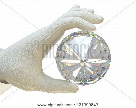 Hand In White Glove Holding Huge Gemstone