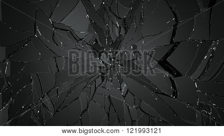 Splitted Or Cracked Glass On Black