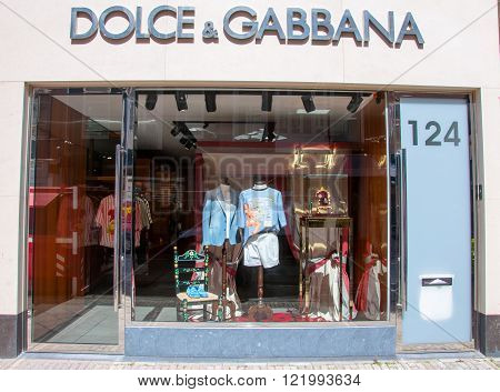 AMSTERDAM-APRIL 30: Dolce & Gabbana store on P.C.Hooftstraat shopping street on April 302015. The Italian fashion house was founded in 1985 by Italian designers Domenico Dolce and Stefano Gabbana.