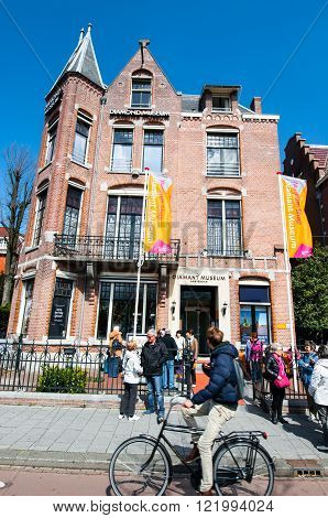 AMSTERDAM-APRIL 30: The Diamond Museum Amsterdam tourists are going to visit the museum on April 302015. The Diamant Museum is a diamond-themed museum located in the city's museum quarter.