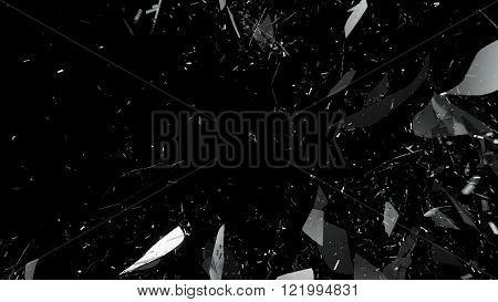 Shattered Or Cracked Glass On Black