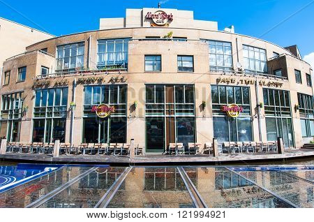 AMSTERDAM-APRIL 30: Hard Rock Cafe on the Singelgrachtkering Canal in the midday on April 302015. Hard Rock Cafe Amsterdam offers an immersive experience in the waterside restaurant and cocktail bar.