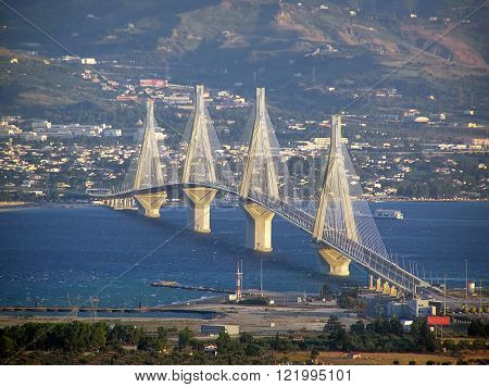 The suspension bridge of Rio-Antirrio in Greece in daylight