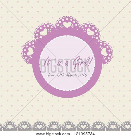 Baby girl announcement banner with pink frame in vintage style
