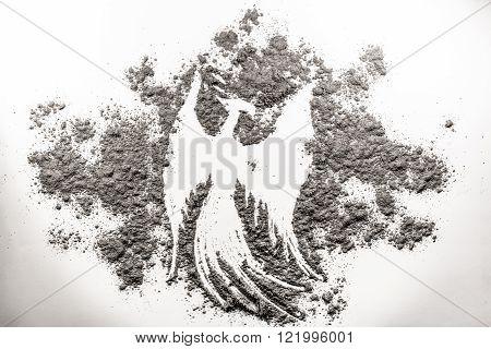 Phoenix bird illustration rebirth in the grey ash