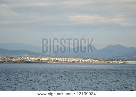 Ionian sea and Corinth city in a cloudy day Greece.