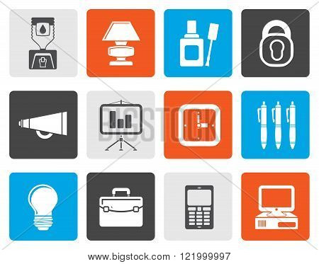 Flat Business and office icons - vector icon set