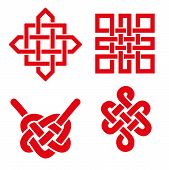 Endless Auspicious knot set. China, Tibet, Eternal , Buddhism and Spirituality icon, symbol.Vector red sign.Feng  Shui traditional element, geometric ornament.For your logo, design or project poster