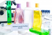 Noxious additives in cosmetics. Laboratory with chemical substances. poster