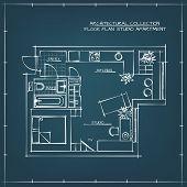 Architectural Hand Drawn Floor Plan. Blueprint. Studio Apartment poster