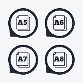 Paper size standard icons. Document symbols. A5, A6, A7 and A8 page signs. Flat icon pointers. poster
