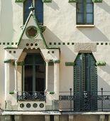 Vic (Catalunya Spain): historic palace: facade windows and balconies poster