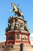Equestrian monument to Emperor Nicholas I (1859) at the Isaakievskaya Ploshchad (St. Isaac's Square) in St. Petersburg Russia poster