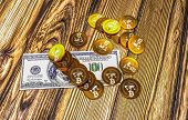 two bitcoins - bit coin BTC the new virtual money poster