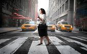 Fat woman crossing a city street poster