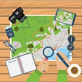 Man at table with map and tourist equipment plan to travel. Trip plan vector travel guide. Hiking map trail. Time for travel and adventure. Camera map compass gps. Banner template. Flat design poster