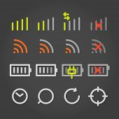 Modern gadget color application icons cocollection poster