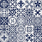 Vector Illustration of Moroccan tiles Seamless Pattern for Design, Website, Background, Banner. Spanish element for Wallpaper, Ceramic or Textile. Middle Ages Ornament Texture Template. White and Blue poster