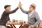 Two senior pals playing chess and high-five each other isolated on white background poster