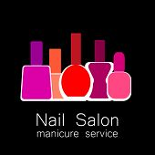 Nail Salon logo. Symbol of manicure. Design sign - nail care. Beauty industry, nail salon, manicure service, spa boutique, cosmetic products. Cosmetic label. Vector illustration. poster