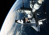 Space Station And Space Shuttle Orbiting Earth. 3D Scene. poster