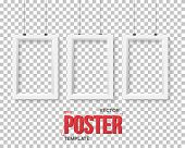 Illustration of Vector Poster Frame Mockup Set. Realistic Vector EPS10 Paper Poster Set Isolated on PS Style Transparent Background poster