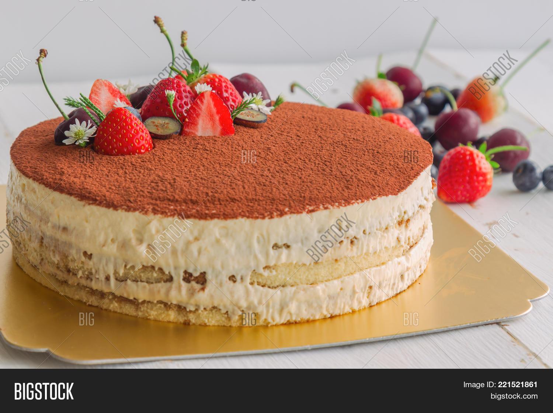 Round Tiramisu Cake On White Wood Image Photo Bigstock