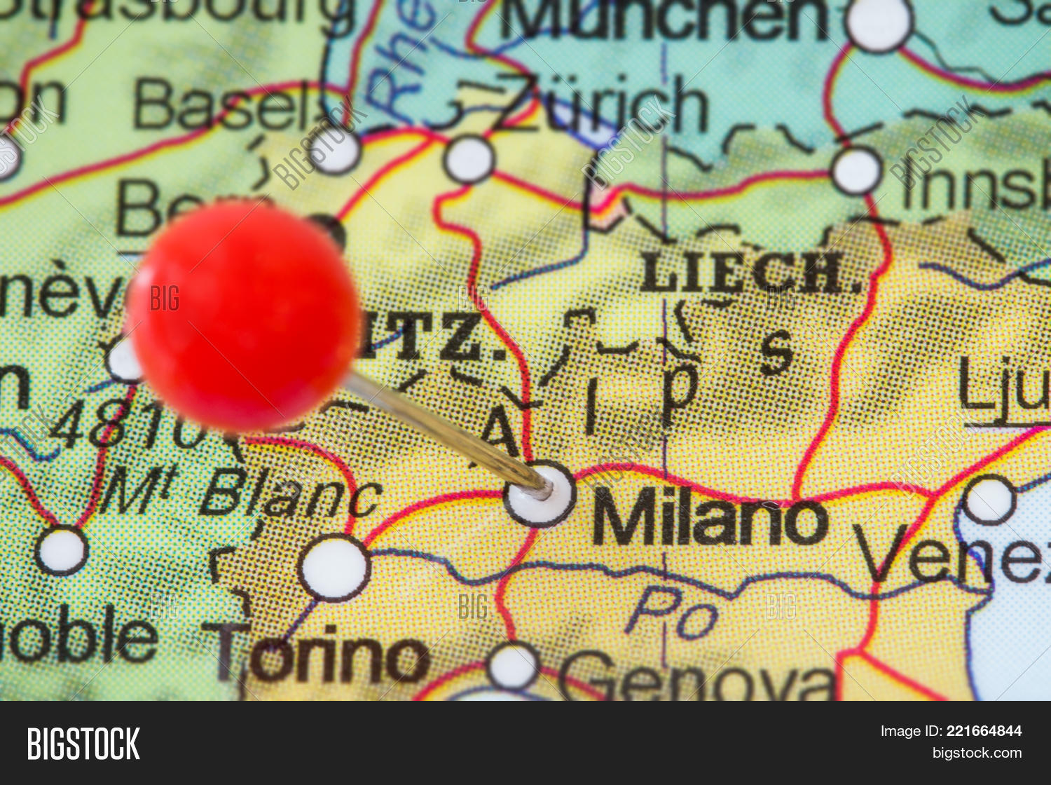 Close red pushpin map milano image photo bigstock close up of a red pushpin in a map of milano milan gumiabroncs Images