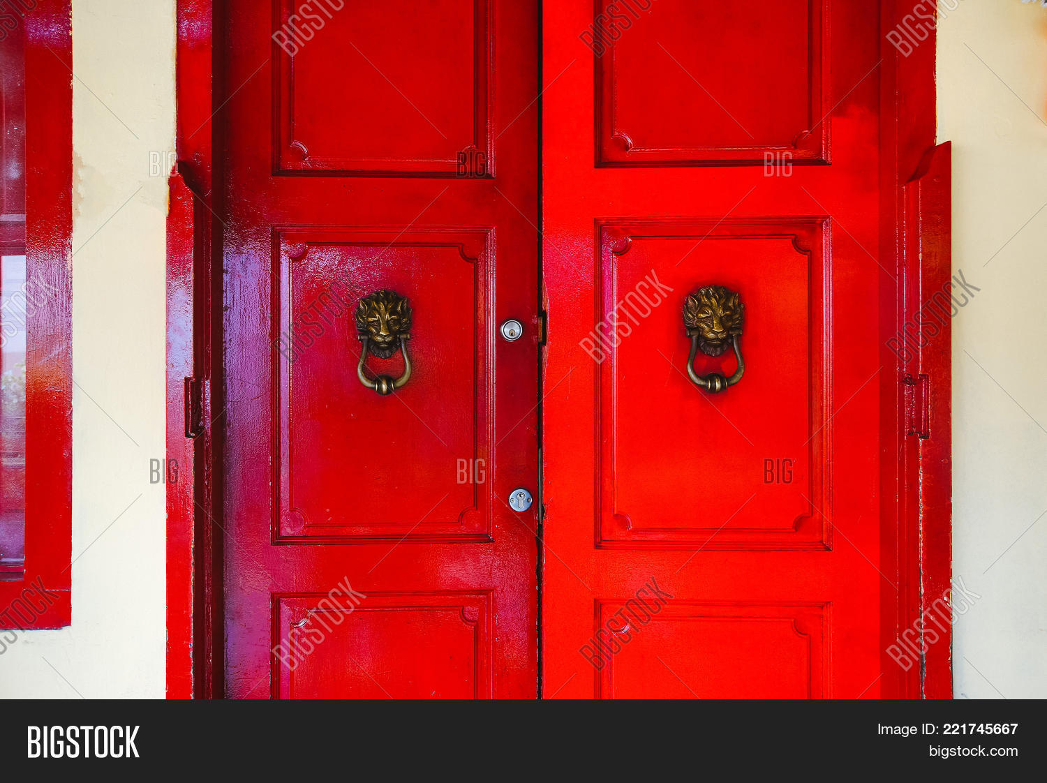 Red Door Lions Double Image Photo Free Trial Bigstock