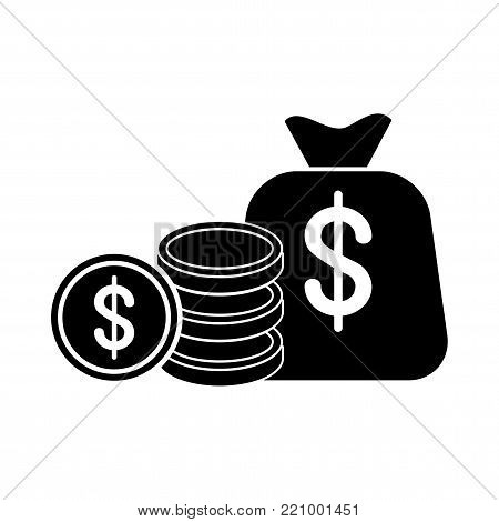 Money bag with dollar stack black icon. Wealth, financial success. Cash payment sign. Flat vector cartoon illustration. Objects isolated on white background.