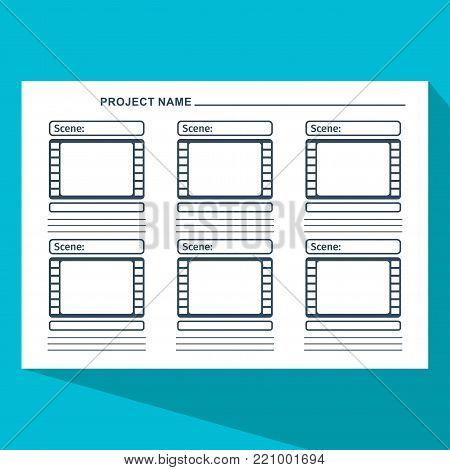 Storyboard template in form of a film. Scenario for media production. Flat vector cartoon illustration. Objects isolated on a white background.