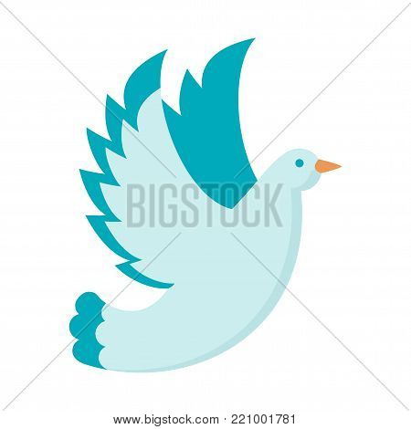 White dove vector. Symbol of love and happiness, faith and purity. Decoration for invitation cards for wedding and celebrations. Flat cartoon illustration. Objects isolated on white background.