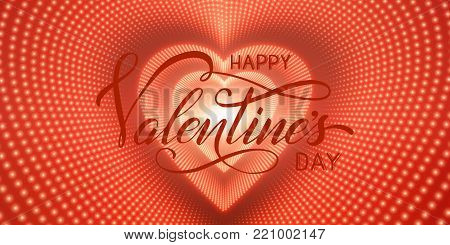 Happy Valentines Day card. Vector infinite heart-shaped tunnel of shining flares on red background. Glowing heart tunnel. Valentines day gift or invitation card. Tender design for you love