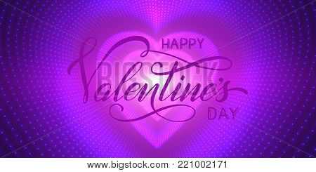 Happy Valentines Day card. Vector infinite heart-shaped tunnel of shining flares on purple background. Glowing heart tunnel. Valentines day gift or invitation card. Tender design for you love